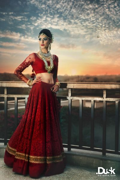 deep jewel toned rich red all over threadwork bridal lehenga in one color, monotone, georgette, thread and pearl wotj, full sleeves blouse with sheer sleeve and beading, long rrani haar