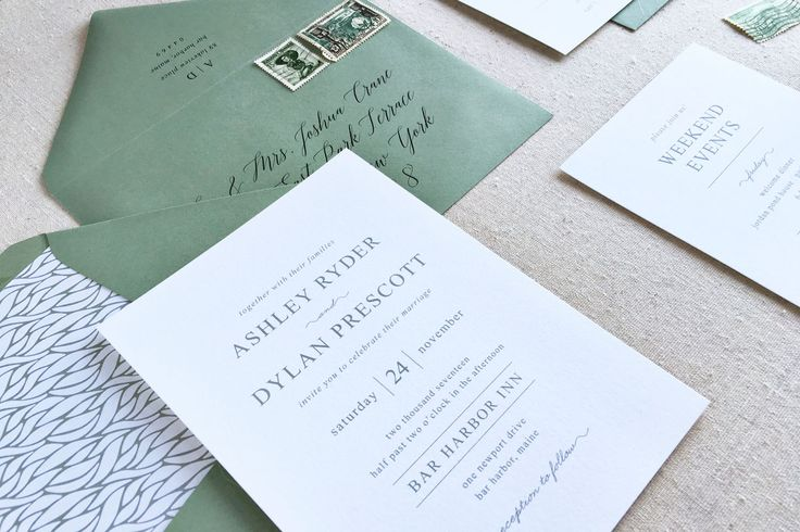 Traditional Wedding Invitation. Custom Letterpress Wedding Stationery. Modern Wedding Invite for Contemporary Weddings in Olive Green by ChelseyEmery on Etsy