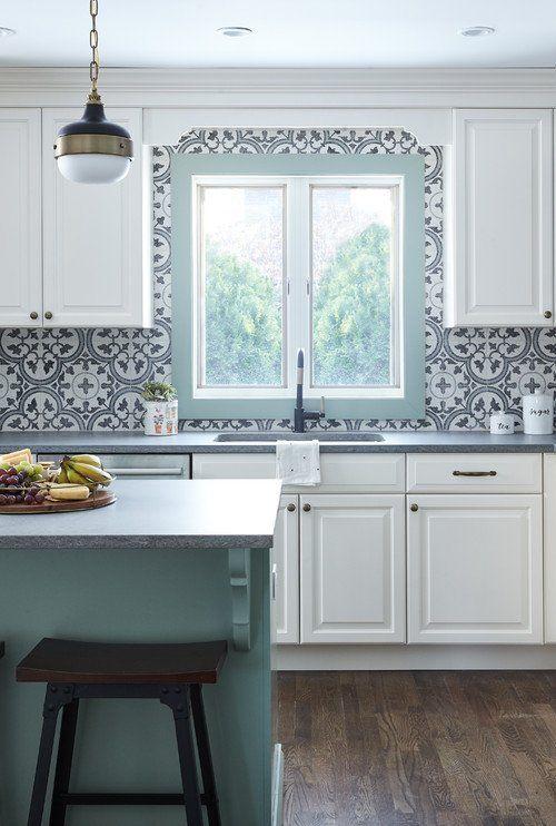 Pastel Green And White Kitchen With Patterned Tile Backsplash