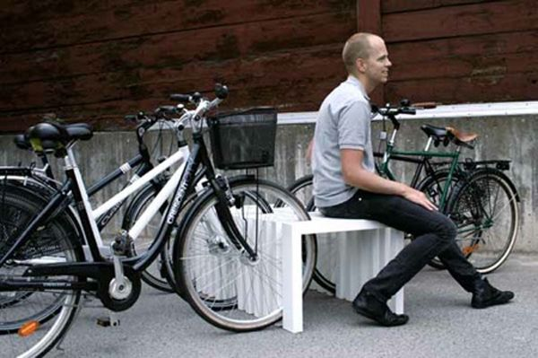 Piano street furniture : This piece created by ADDI saves space while looking beautiful: it is part bench part bike rack.  With the rising demand for ecological means of transport this bench is perfect for any city. The 90 degrees angle simplicity blends well with the city`s ever changing face.