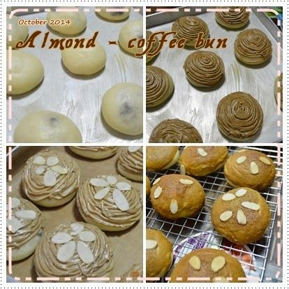Almond Coffee mexican topping bun - First batch of taiwanese bread - Roti Kopi (Coffee Bread)
