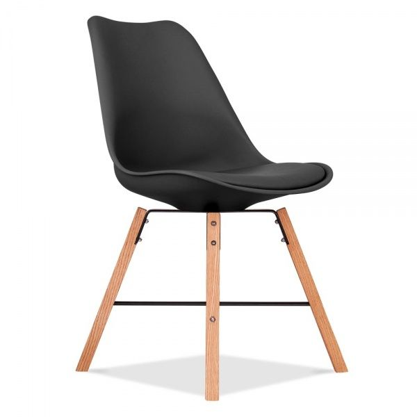 Eames Inspired Soft Pad Dining Chair in Black With Cross Brace Legs