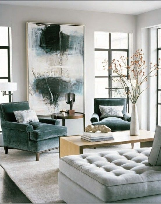 Blues and greys in soft textures. Check out more great living room and furniture ideas on my boards!                                                                                                                                                     More