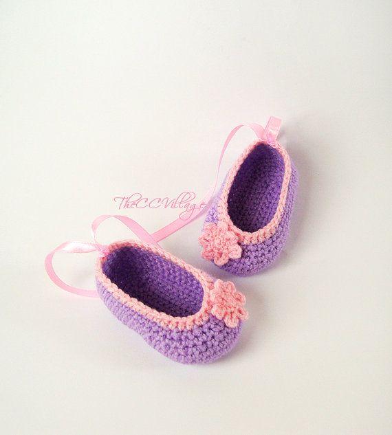 Purple handmade crochet baby girl shoes Ballerina by TheCCVillage, £6.00