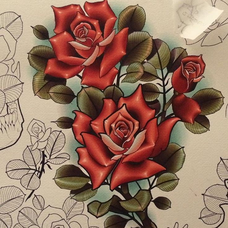 A couple roses from a #rose #flash sheet I'm working on. @tildeathdenver #denver #color #colorado #sodasopa #wearerino #watercolor #drphmartins #flowers #pretty #tattoo #tattooer #art #drawing #painting #wip
