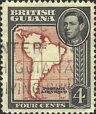 British Guiana stamp with map