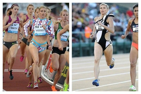 """Proving that the sporty luxe trend has jumped the shark is elite track runner Maggie Vessey's racing kit. The 32-year-old partnered with LA-based designer Merlin Castell. On her black and white creation she told 'Runner's World': """"For the semis, I knew they were going to be at night, and so I wanted to honour that moment. I took the opportunity to go with a more eveningwear look with the black and white and the bow on the shoulder."""" She placed 7th."""