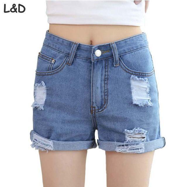 2016 novo Estilo do Verão Buraco Do Punk Rock Moda Shorts Jeans de Cintura Alta Do Vintage Jeans Rasgados Curtas Sexy Womens Curto Femme