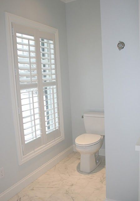 shutters...yep!  Even in a bathroom.  Upper louvers and bottom louvers tilt seperately for great privacy control!  #BudgetBlindsofChico