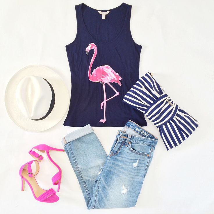 Flamingo tank and distressed denim jeans with pink pumps, Panama hat and striped bow clutch  // StylishPetite.com