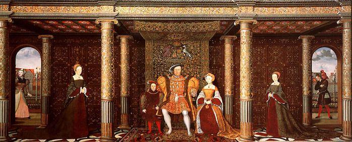 Полный вариант.В центре Генрих VIII с третьей женой Джейн Сеймур и их сыном Эдуардом VI.Слева принцесса Мария-дочь Генриха и его первой жены Екатерины Арагонской.Справа - Елизавета.