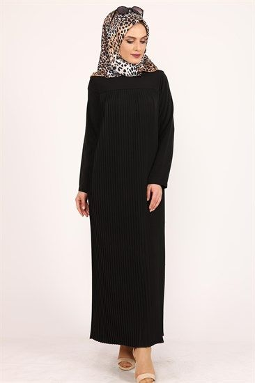 Aysima Piliseli Tesettür Elbise Siyah 9687