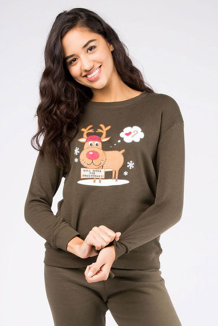 "Girls ""Will Work for Candy"" Reindeer Boyfriend Fleece Top"