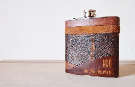 Apocalypse Leather Flasks - Personalised initials and tally date, rustic leather, distressed hip flask, wedding hip flasks