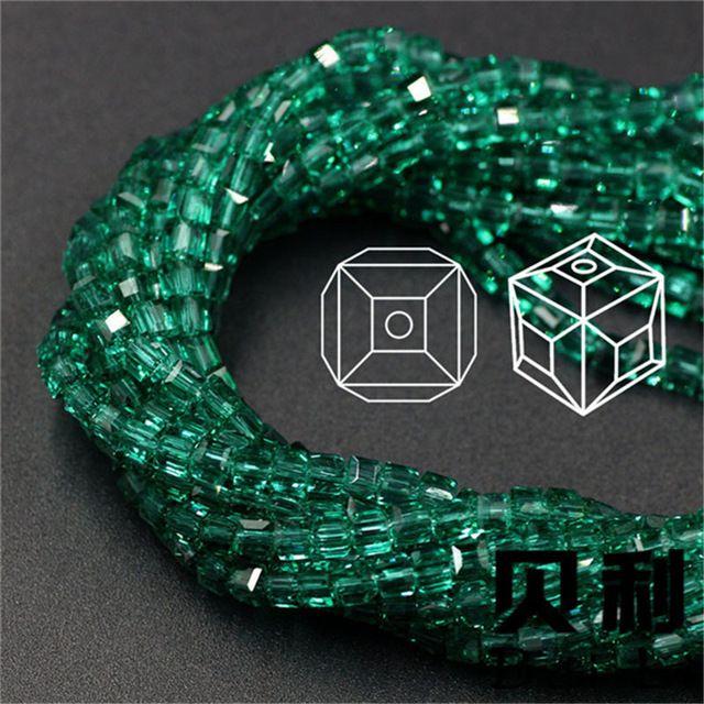4 MM 100 pcs perles de cristal Cube livraison gratuite! Top qualité couleur bijoux DIY faire perles en vrac perles Bracelet