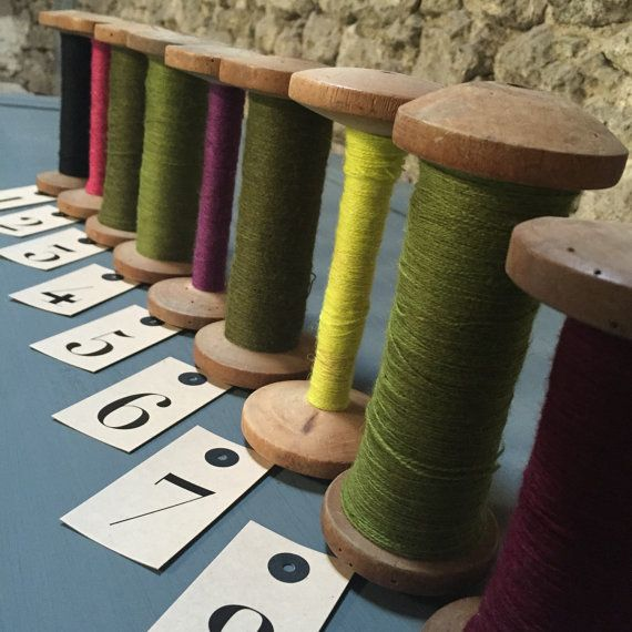 French Vintage Wooden Bobbins filled with original fine pure wool from the famous Aubusson Tapestry in the French Limousin, the colours are divine, so vibrant and very clean. One or two old worm holes in some of the bobbins, all have been treated just to make sure!  Please note that No 1 Black, No2 Cyclamen Pink, No3 Sage Green and No9 Aubergine are now sold.  Price is per bobbin, please choose colour from the dropdown list .  If you buy 2 bobbins, the second one will be shipped for free…