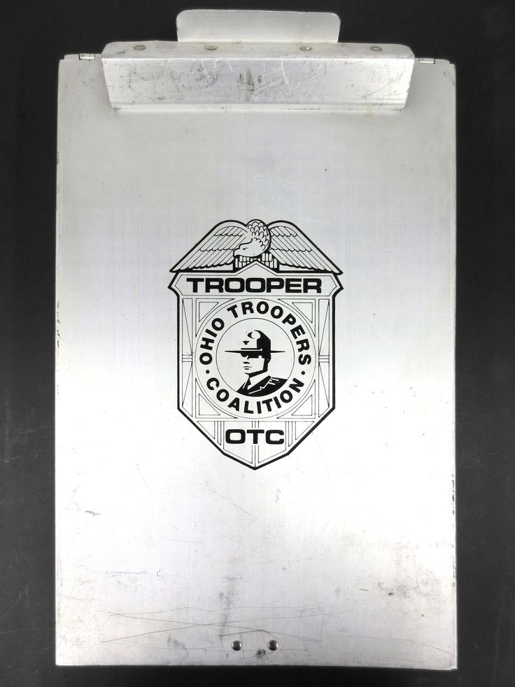 """Vintage Police Metal Clip Board with Storage 9 X 3.75"""", Ohio Troopers Coalition"""