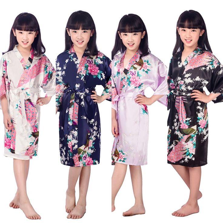 D1686 New Kid Silk floral Robe Kimono Robes Bridesmaid Flower Girl Dress Children Bathrobe Sleepwear Baby Clothes Dressing Gown
