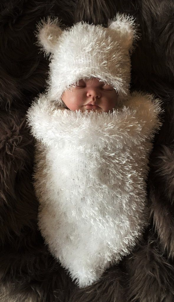 Baby Polar Bear Hand Knitted Chunky Faux Fur Cocoon & Hat Newborn - 3 Months Or 3-6 Months
