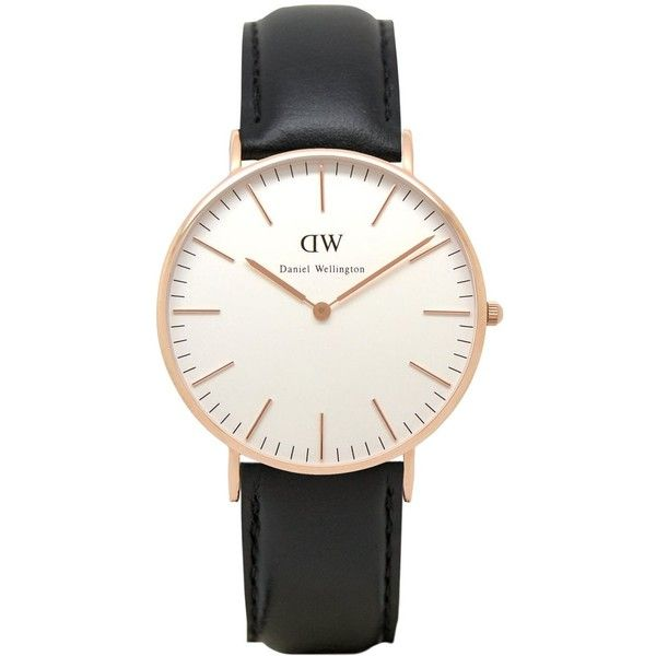 Daniel Wellington 0508DW Classic Sheffield ladies watch featuring polyvore, women's fashion, jewelry, watches, white dial watches, leather-strap watches, daniel wellington, daniel wellington watches and white faced watches