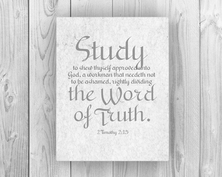 2 Timothy 2:15 on Canvas; Study to show thyself approved ; teacher gift ; homeschool decor; faith inspired word art