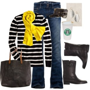 minus the starbucks cup (random)Ag Style, Fashion Beautiful, Looks Yellow, Add Colors, Closets, Starbucks Cups, Accessories, Stripes Forever, Yellow Scarf Outfit