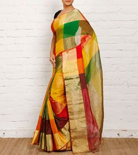 Multicoloured Maheshwari Cotton Silk Saree with Madras Checks