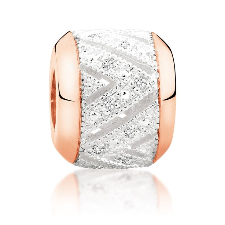 Diamond set, rose gold  sterling silver charm (11990024) #rosegold #emmaandroe