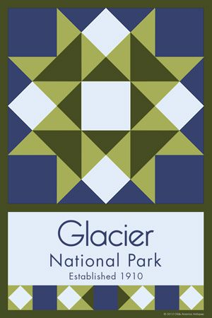 Glacier National Park Quilt Block designed by Susan Davis. Susan is the owner of Olde America Antiques and American Quilt Blocks She has created unique quilt block designs to celebrate the National Park Service Centennial in 2016. These are the first quilt blocks designed specifically for America's national parks and are new to the quilting hobby.