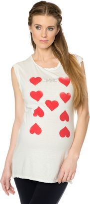 Apeainthepod Pam and Gela Sleeveless Crew Neck Maternity T Shirt - Shop for women's Shirt - Heart Print Shirt