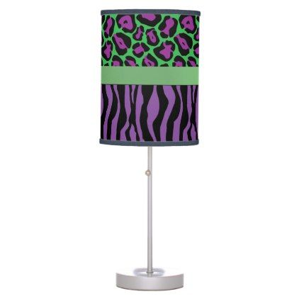 #chic - #Chic Purple/Green Zebra & Leopard Lamp