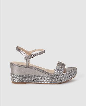 Sandalias de cuña de mujer Unisa de piel en color plata