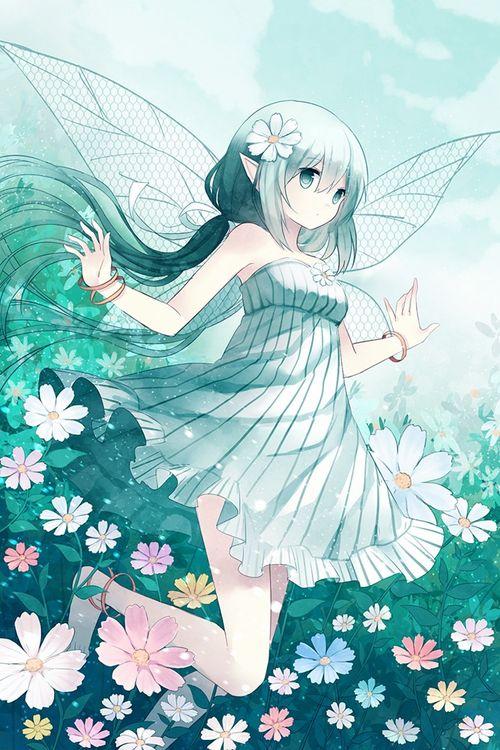 Manga fille - cheveux verts - ailes - fée - fleurs | Anime ...