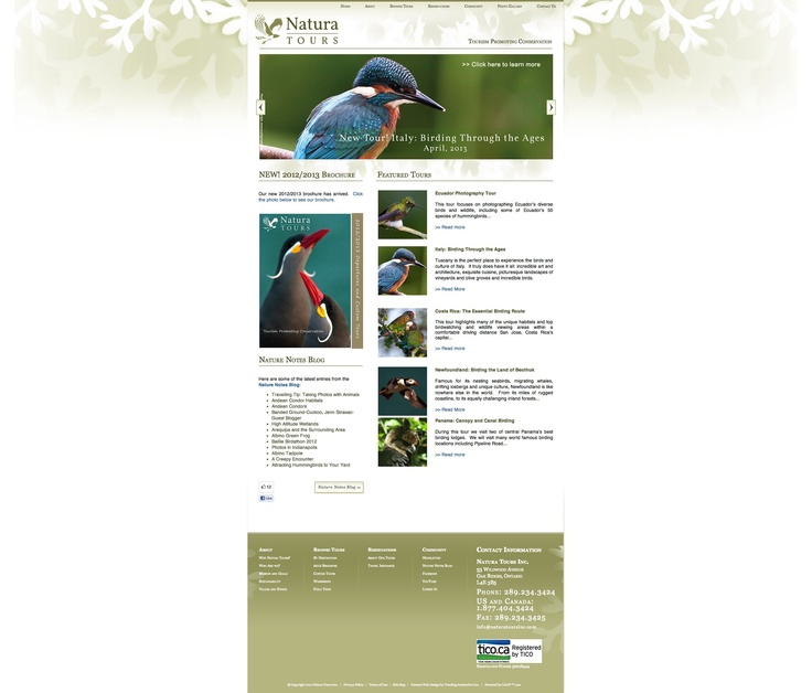 Natura Tours - Website design and development - Treefrog is your web design, graphic design and web development agency. To see more of our work visit www.treefrog.ca