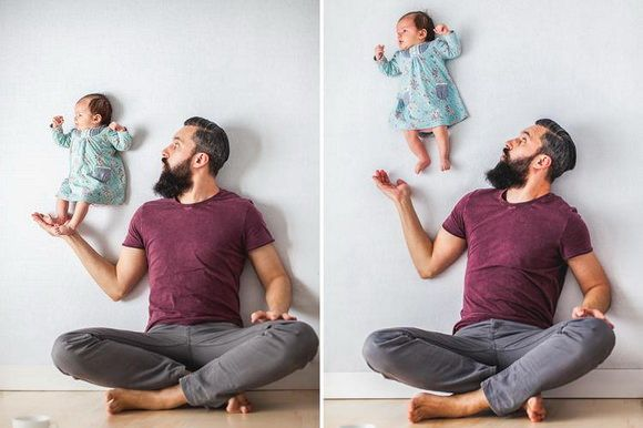 Photographers Ania Waluda and Michal Zawer have captured fun and creative portraits of their newborn daughter, named Emilia, who appears to be floating without the use of post-processing. #fun #creative #children #photography