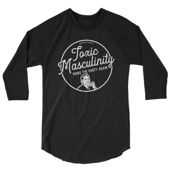"""It's the official My Favorite Murder """"TOXIC MASCULINITY"""" baseball tee for maximum staying sexy and not getting murdered.* Design by Kirstin Bencomo. Enjoy, murderinos! *not getting murdered not guaranteed. A modern baseball style raglan made from a comfortable poly-cotton blend. Its key feature is the classic combo of contrasting ¾ sleeves and collar. • Unisex (women may want to size down)• 50/50 polyester/ combed ring-spun cotton• 3.7 oz., 36 singles thread weight• ¾..."""