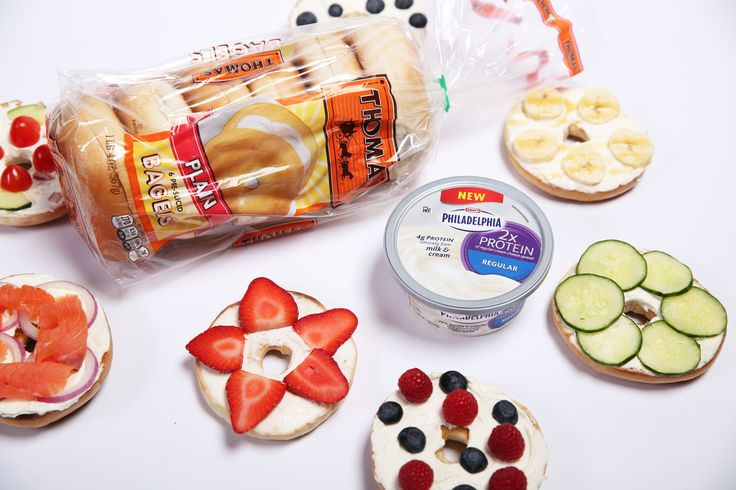 Introducing a delicious duo with 14g of protein. With Thomas' English Muffins and Bagels, the possibilities are endless...   *14g of protein based on one serving (2 Tbsp) of Philadelphia 2X Protein Cream Cheese and one Regular Thomas' Plain bagel