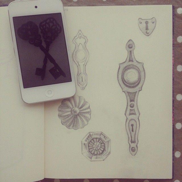 #drawing #vintage #doorknob & #keys #anasucre #빈티지 #문고리 #열쇠 #드로잉북 #아나수크레