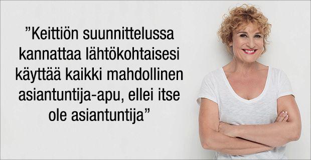 Sisustustoimittaja Hanna Sumari suosittelee käyttämään keittiön suunnittelussa aina asiantuntijan apua.