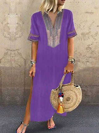 Tribal Boho Women Plus Size Dresses Shift Beach Maxi Dresses
