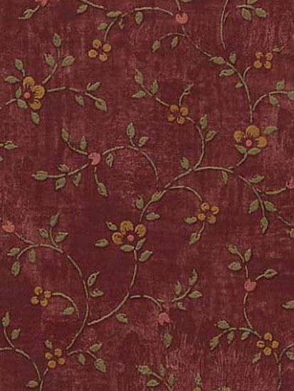 Calico Burgundy Wallpaper