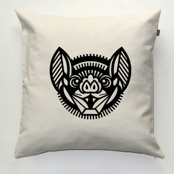 Bat, Hurricane Lantern, Decorative pillow cover, pillowcase, gift, cushion case, decorative throw pillow, sofa ecru pillow by PSIAKREW on Etsy