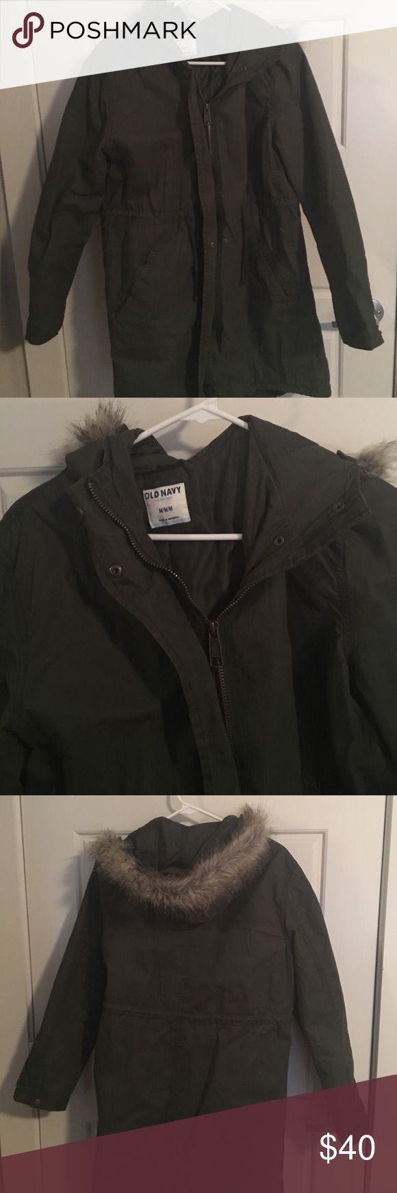 Awesome, warm winter coat in excellent condition Fun, cute coat. It is super warm. The color is an army green. I did not wear this more than a few times. Old Navy Jackets & Coats