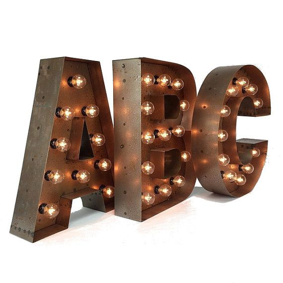 "18"" Marquee LETTERS ... custom steel marquee letter, light up letter, marquee letter, A B C D E F G H I J K L N O P Q R S T U V W X Y Z &"