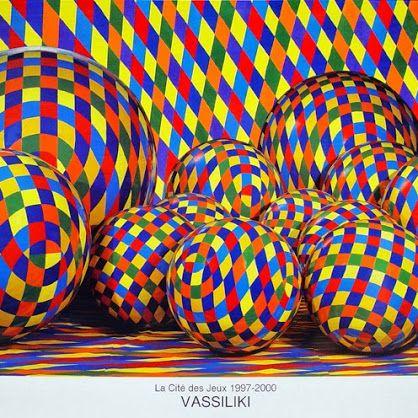 """Contemporary art. Official Poster, Vassiliki's """"La Cite des Jeux"""" Exhibition in Paris. Vassiliki (b.1960)"""