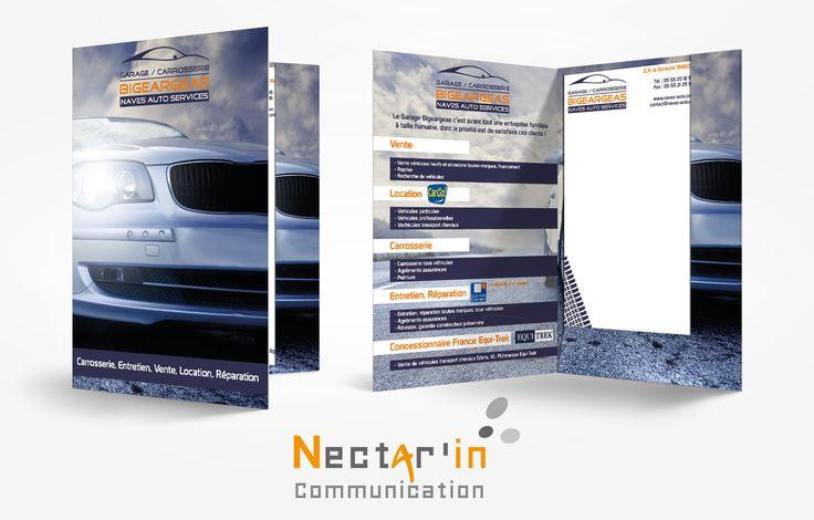 Pochette à rabats A4 pour Naves Auto Services. Impression Recto Verso.