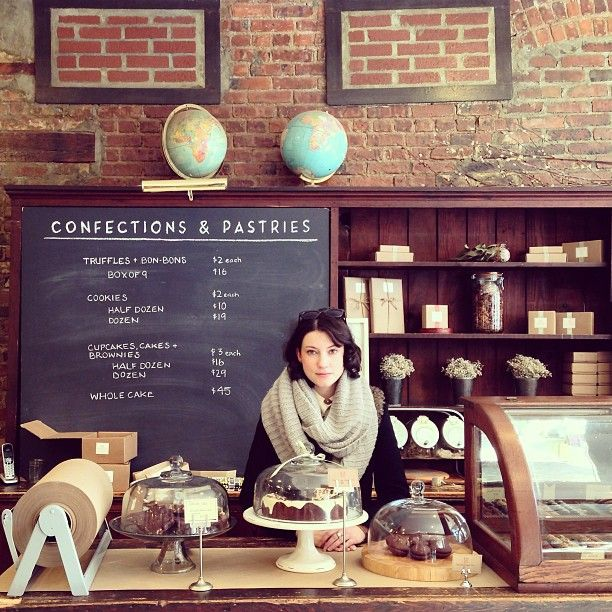 Confections  Pastries #bakery #shop #display #counter #globes #exposed #brick