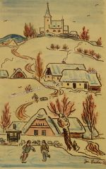 Zimní radovánky, 1937 | tužka, akvarel na papíře, 38 × 23 cm