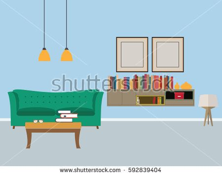 Modern living room interior flat vector illustration with furniture.