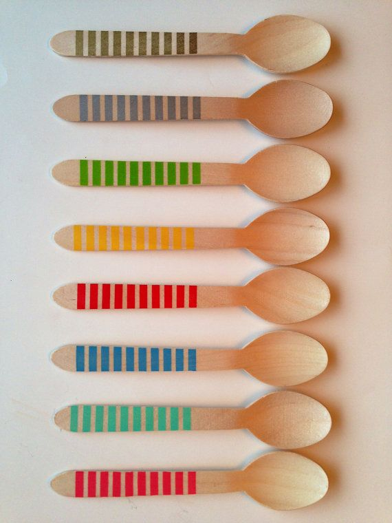 Wooden Party Spoons with Stripes  PICK YOUR COLORS  by TamsCorner, $8.29